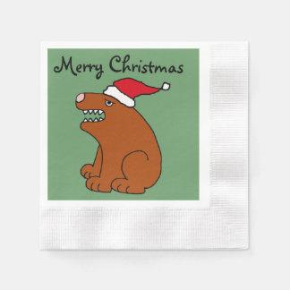 Lustige Braunbär-Weihnachtskunst Servietten