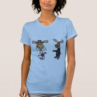 Lustige Braut-und Bräutigam-Elch-Hochzeit T-Shirt
