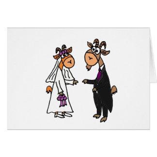 Lustige Braut-und Bräutigam-Ziegen-Hochzeit Grußkarte