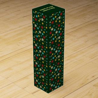 Lustige, bunte Sterne Wein-Geschenkverpackung
