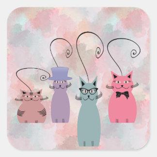 Lustige bunte Watercolor-Cartoonkatzen Quadratischer Aufkleber