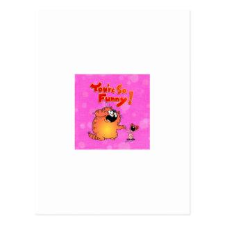 Lustige Cartoon-Katze und Maus Postkarte