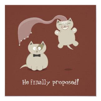 Lustige Cartoon-Katzen-Save the Date Mitteilung Quadratische 13,3 Cm Einladungskarte