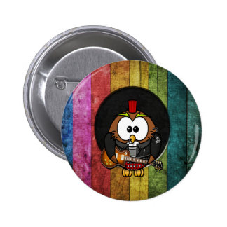 Lustige coole rock&roll Eule mit dem Durchdringens Runder Button 5,1 Cm