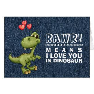 Lustige Dinosaurier Valentinstag Gruu0026#223; Karten Karte