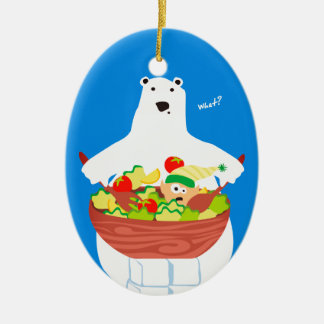 Lustige Eisbärelfsalat Weihnachtsverzierung Keramik Ornament