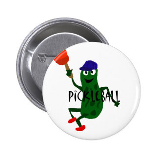 Lustige Essiggurke, die Pickleball spielt Runder Button 5,1 Cm
