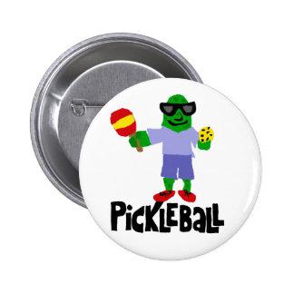 Lustige Essiggurke mit Pickleball Paddel Runder Button 5,7 Cm
