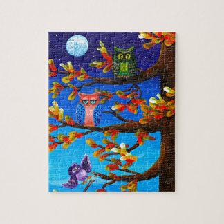 Lustige Eulen-wunderliche Waldkunst Creationarts Puzzle