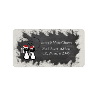 Lustige Feiertags-Cartoon Sankt-Katzenpaartafel Adressetikett