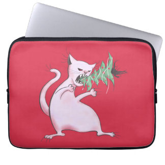 Lustige fette weiße Katze isst Weihnachtsbaum Laptop Sleeve