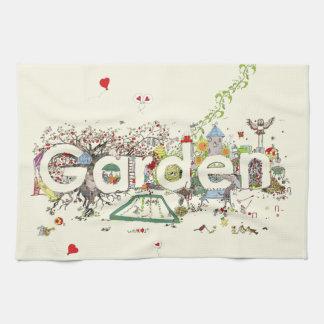 Lustige Garten-Wort-Kunst-bunter Malerei-Entwurf Geschirrtuch