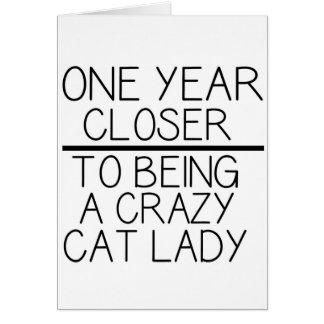 Lustige Geburtstagskarte - verrückte Katzendame Grußkarte