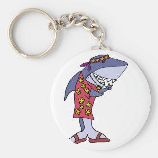 Lustige Haifisch-Hippie am Strand Schlüsselanhänger