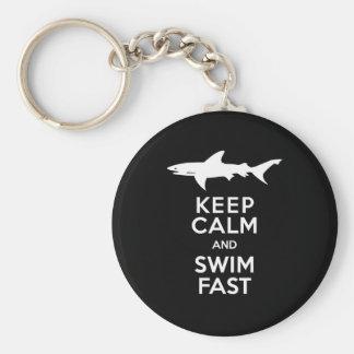 Lustige Haifisch-Warnung - behalten Sie Ruhe und Schlüsselanhänger