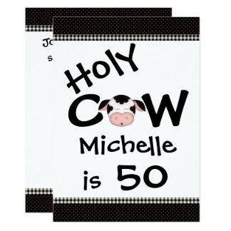 Lustige heilige Kuh-50. Geburtstags-Party 12,7 X 17,8 Cm Einladungskarte