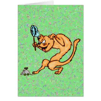 Lustige Katze fängt Maus Mitteilungskarte