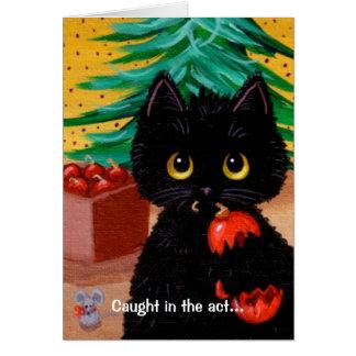Lustige Katzen-Weihnachtskunst-Cartoon-Maus Karte