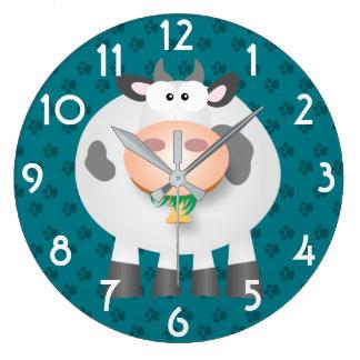 Lustige Kuh und graue Tatzen-Druck-Muster-Wanduhr Große Wanduhr