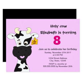 Lustige Kuhrosamädchen-Kindergeburtstag-Party 8,9 X 12,7 Cm Einladungskarte