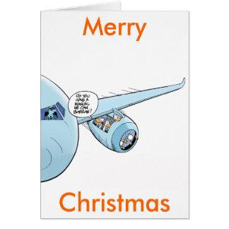 Lustige Luftfahrt-Cartoon-frohe Weihnacht-Karte Karte