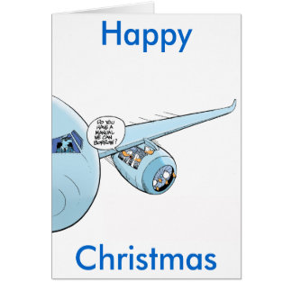 Lustige Luftfahrt-WeihnachtsCartoon-Karte Karte