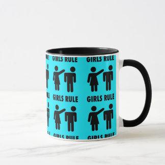 Lustige Mädchen-Regel-aquamariner Tasse
