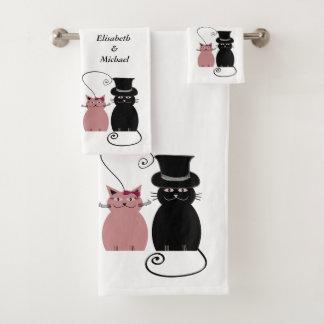 lustige niedliche Cartoonkatzen-Liebepaare Badhandtuch Set
