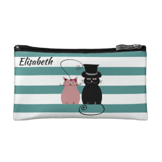 Lustige niedliche Cartoonkatzen-Liebepaare Kosmetiktasche