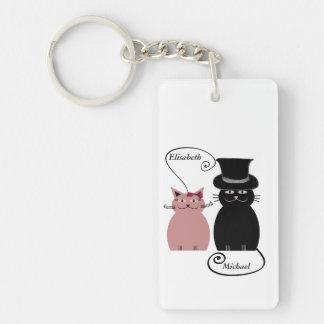 lustige niedliche Cartoonkatzen-Liebepaare Schlüsselanhänger