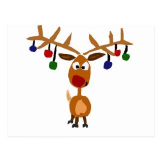 Lustige rote gerochene Ren Weihnachtskunst Postkarte