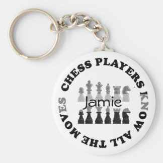 Lustige Schach-Spieler kennen alle Bewegungen Standard Runder Schlüsselanhänger