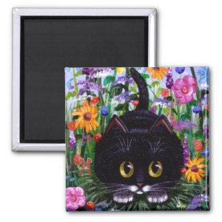 Lustige schwarze Tuxedo-Katzen-Blumen Creationarts Quadratischer Magnet