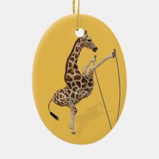 Lustige sportliche Giraffe Keramik Ornament