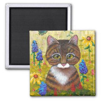 Lustige Tabby-Katzen-Blumen Creationarts Quadratischer Magnet