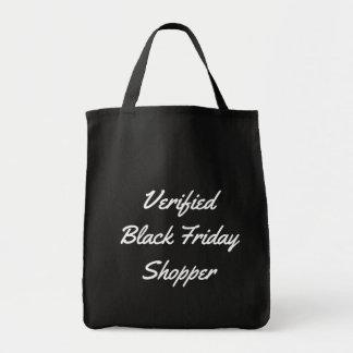 Lustige Typografie überprüfter schwarzer Tragetasche