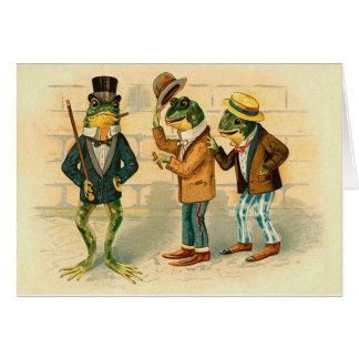 Lustige Vintage Frösche Grußkarte