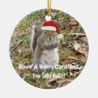 Lustige Weihnachtseichhörnchen-Verzierung Keramik Ornament