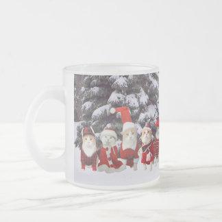 Lustige Weihnachtskatzen Matte Glastasse