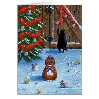 Lustige Weihnachtskatzen und Mäuse Creationarts Karte