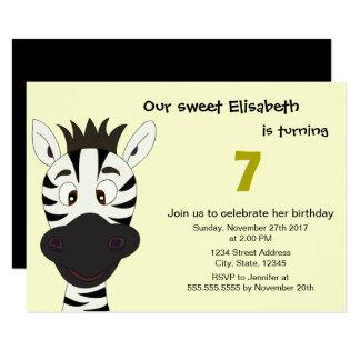 Lustige Zebragelb-Kindergeburtstag-Party Einladung