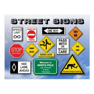 Lustige Zeichen der Straßen-(Straße) Postkarte