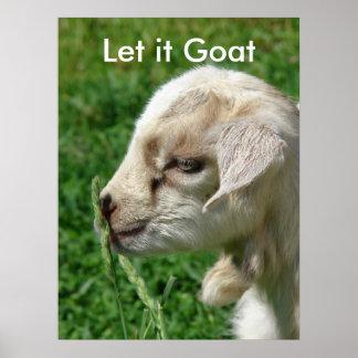 Lustige Ziegen-Parodie, niedliches Ziegen-Kind Poster