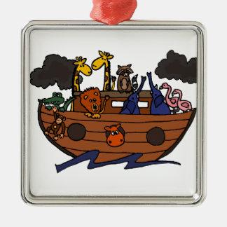 Lustigen Noahs Arche-Cartoon Silbernes Ornament