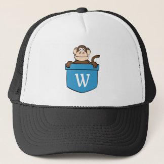 Lustiger Affe in einer Tasche mit Monogramm Truckerkappe
