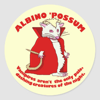 Lustiger Albino-Opossum-Vampir Runder Aufkleber