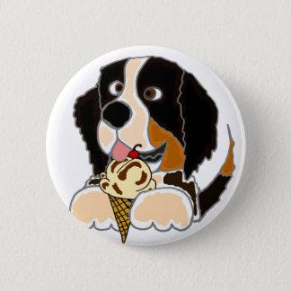 Lustiger Bernese Gebirgshund, der Eistüte isst Runder Button 5,7 Cm