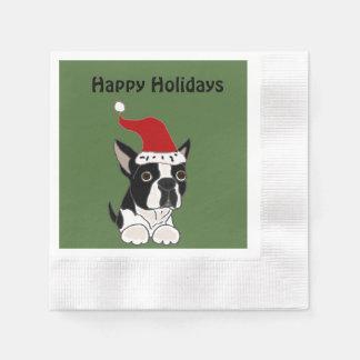 Lustiger Boston-Terrier Hund in der Papierservietten