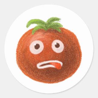 Lustiger Cartoon-Tomate-Aufkleber Runder Aufkleber