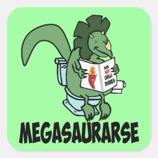 Lustiger Dinosaurier Quadratischer Aufkleber
